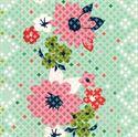 Bild på Cotton + Steel turkos med blommor